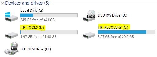 HP Recovery partitions, transfer from HDD to SSD